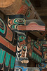 Close-up of raven figure on totem, Big House, Klemtu, British Columbia