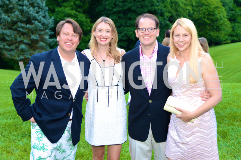 Richard Moroscak, Tiffany Lindsley, Russell Firestone III, Stefanie Firestone, Annual Country Barbecue at the Villa Firenze benefitting the Children's Hearing and Speech Center.  Thursday, June 5th, 2014.  Photo by Ben Droz.