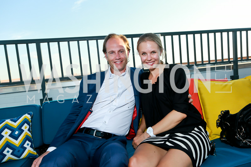 Steve Utterwulghe, Hanna Aspelin. Photo by Tony Powell. The Embassy Row Hotel Rooftop Opening. July 16, 2014