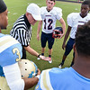 The coin toss before tonights game. Beddingfield defeats Southern Nash 19-7 on Thursday night August 28, 2014 in Wilson NC (Photos By Anthony Barham)