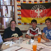 Linus from Germany's host family in Texas enjoys trying out some Germany food.