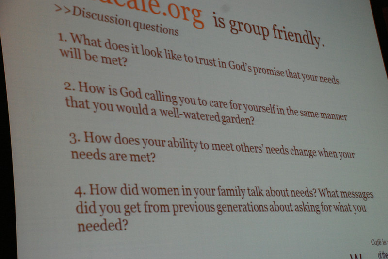 In a Cafe workshop about the value of intergenerational relationships and Cafe groups, participants sat in small groups and shared their answers to four questions from Rozella White, ELCA director for young adult ministry. EH.