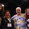 (left to right) Jessica Morgan (Pasco, Wash.), Vilma Rodriguez, Deb Stewart and Flor Hernandez all met at the triennial gathering, where Morgan and Hernandez discovered they had something in common: Both of their families adopted them as children from El Salvador, Vilma Rodriguez' country. EH.