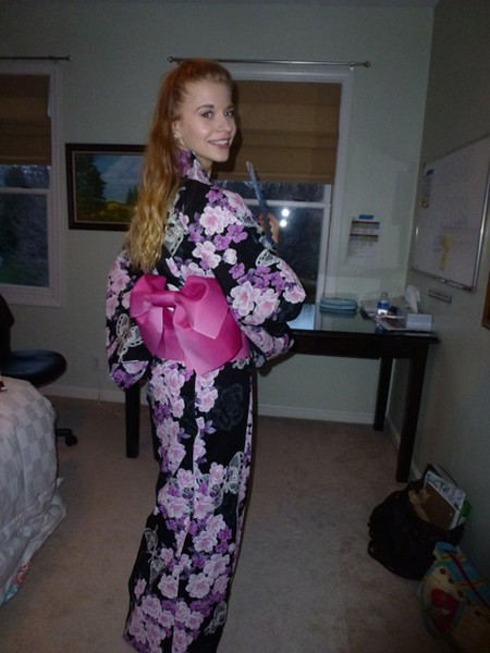 Rahel from Germany tries on her friends traditional kimono in Kentucky.