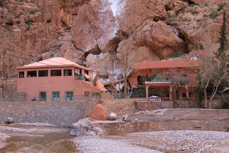 The middle portion of the restaurant was crushed by rocks falling from the instable cliffs above. It will not reopen per government order!