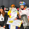 VEYSONNAZ, SWITZERLAND - JANUARY 19: Jacobelis USA world champion with 2nd Jekova BUL, and Maltais CAN in the  FIS World Championship Snowboard Cross finals : January 19, 2012 in Veysonnaz Switzerland