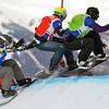 VEYSONNAZ, SWITZERLAND - JANUARY 23: l to r Anrey Boldikov, Emanuel Perathoner, Markus Schairer at FIS World Championship Snowboard Cross finals : January 23, 2012 in Veysonnaz Switzerland