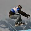 VEYSONNAZ, SWITZERLAND - JANUARY 21: Finalist Franco Ruffini (ARG) in the FIS World Championship Snowboard Cross finals : January 21, 2012 in Veysonnaz Switzerland
