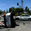 Two vehicles collided at the intersection of Sherman Way and Fallbrook Ave. Los Angeles Fire Department personnel freed 3 victims transporting 1 critical and 2 with minor injuries to a local hospital. (Photo by Hans Gutknecht/Los Angeles Daily News)