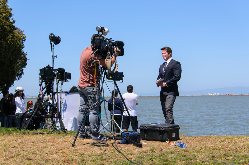 Television Interview at SFO Crash Site