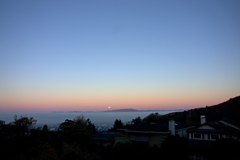 Moonrise: Mt. Tamalpais pokes through the clouds.