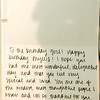 Sweet b-day note from Stephanie - Oct 2014