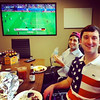 Tom and Zack Jamail watching a America in the World soccer tourney / June