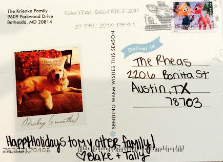 Tally's SWEET Christmas note on her card to us  - )