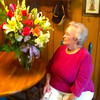 Mama with the b-day flowers we sent her! - Monticello - July