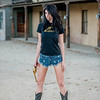 Nikon D800E Photos Cowgirl Model Goddess with Cutoff Daisy Dukes Blue Jeans Cowboy Boots & Gold 45 Revolver Gun!