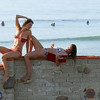 Swimsuit Bikini Model Goddesses at Surfrider's Beach on the Surfrider's Wall in Malibu!