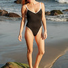 Beautiful Redhead Surf Girl One Piece Swimsuit Model Goddess@ Surfrider's Beach by Malibu Pier!