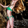 Sea Cave Nymph! Canon 5D Mark II Photos of Beautiful Blonde Swimsuit Bikini (Green One Piece Swimsuit!) Model Goddess with Pretty Blue Eyes !