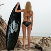 Nikon D800E Photos of Pretty Blond Swimsuit Bikini Model Goddess & Black Surfboard: 70-200mm VR2 Nikkor F/2.8 Zoom