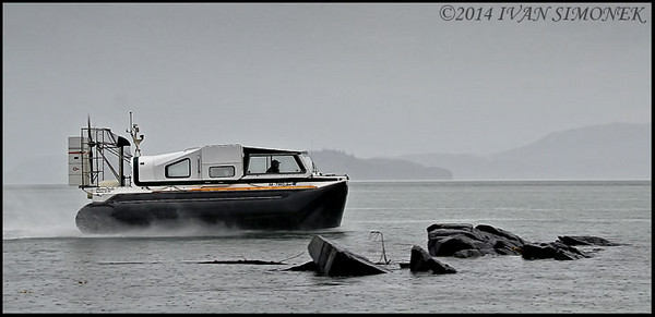 """ZOOMING BY"",a personal hovercraft,Wrangell,Alaska,USA."