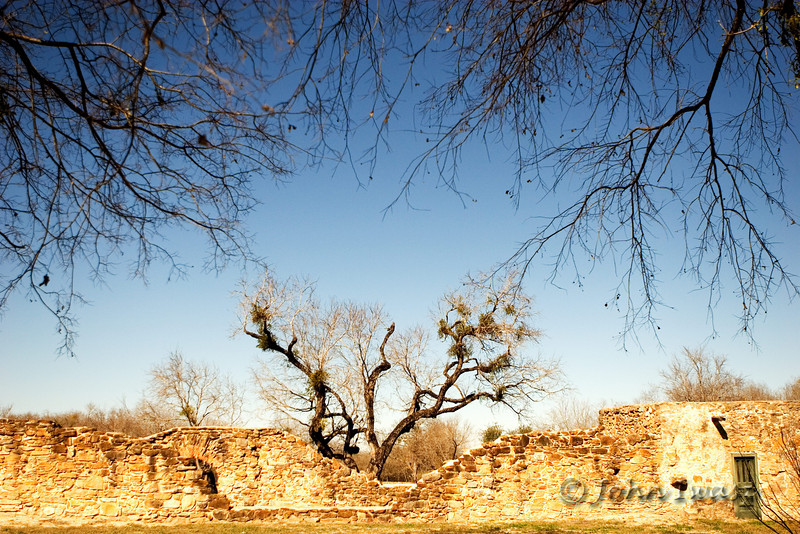 The image of the tree emerging from behind the ruins to meet the the overhanging branches caught my eye. The walls you see are part of one of the five missions in San Antonio.