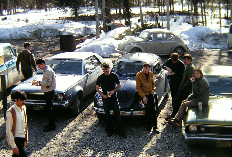 May Day BBQ, North Pole, AK, may 1, 1971  R-L _steve gleinse, don pomerino,wes plouff, don wood, glen pare, wally walstrom, jeff whalen,     PICT0018-001