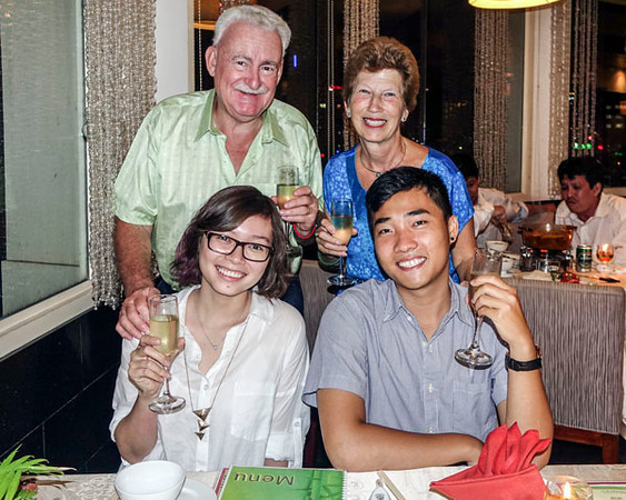 AUGUSTIN'S FRIENDS, GABY AND TRIET, BOTH ARCHITECTS. SAIGON LEMON GRASS RESTAURANT.