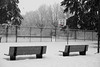 DSC02170 Snowy benches beside the court.