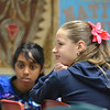 """Sydney Wagner, right, and Sneha Varanasi answers questions during 7th grade literature class studying the book """"The Devil's Arithmetic"""" at the Broomfield Academy on Thursday.<br /> January 10, 2013<br /> staff photo/ David R. Jennings"""