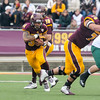 Ken Kadwell/@KenKadwell - Special to the Sun<br /> Central Michigan's Thomas Rawls (34) runs the ball up the middle against the Ohio Bobcats at Kelly/Shorts stadium Saturday, Oct. 4, 2014.