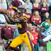 Ken Kadwell/@KenKadwell - Special to the Sun<br /> Central Michigan's Titus Davis (84) pulls in a catch from Cooper Rush and scores a touchdown past Ohio's Devin Bass (37) at Kelly/Shorts stadium Saturday, Oct. 4, 2014.