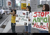 TA6.8 / Teen demonstration.  Choice 3 of 11  AT34TG elephant abuse protest, circus animals rights, Hispanic, teen, girls, posters, signs,