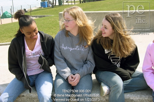 TA8.7 / What characterizes emotional intelligence<br /> <br /> Choice  13 of 13<br /> <br /> Black teen girl talks to two White teen girls outdoor