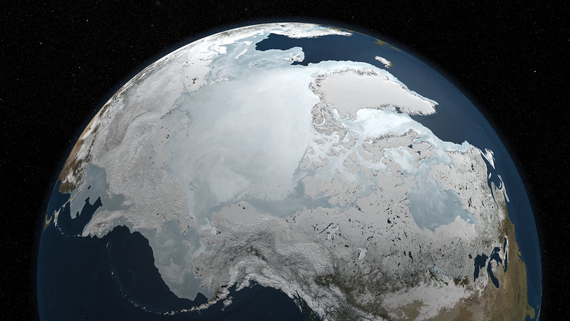 """NASA image of the Arctic sea ice with a star background on March 6, 2010.  NASA/Goddard Space Flight Center Scientific Visualization Studio. The Blue Marble data is courtesy of Reto Stockli (NASA/GSFC).  To see a video of this image go to:   To learn more abou this image go to:  http://svs.gsfc.nasa.gov/goto?3698  <b><a href=""""http://www.nasa.gov/centers/goddard/home/index.html"""" rel=""""nofollow"""">NASA Goddard Space Flight Center</a></b>  is home to the nation's largest organization of combined scientists, engineers and technologists that build spacecraft, instruments and new technology to study the Earth, the sun, our solar system, and the universe."""
