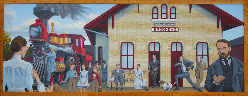 15JUL2014 <br /> <br /> Waiting For A Train<br /> <br /> A mural on the side of a building in Brodhead Wisconsin.<br /> <br /> Have a great day!