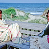 l-r: Patty Dunlop, Judy Hilburger on upstairs deck of the rented house at Nags Head, NC, on the Outer Banks