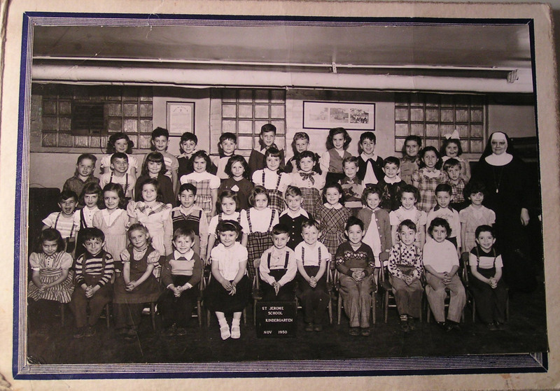 3 11 2014 Tommy, Kindergarten Class at St Jerome's, nov 1950 .  Tommy, last row, 4th from left.