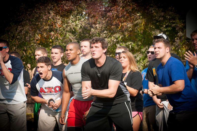 Students participate in tug-of-war during Homecoming 2012