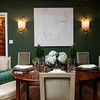 Wall color, table, lamps, buffet