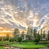 Laguna Woods, Par 3, condos, manors, sunset, clouds, sky, grass, lake, bench, Ted Miller