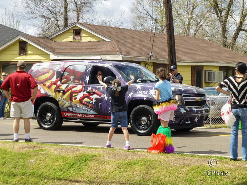 Livingston Parish DARE vehicle joined the Krewe of LUL celebration.