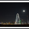 Full moon composite photo of Dallas skyline and Margaret Hunt Hill Bridge