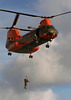CH-46 'Pedro' rescue chopper hoisting a corpsman aboard during joint operations with the Coast Guard. 2008
