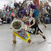 Shaun Walker/The Times-Standard<br /> <br /> Aztec dancers from Sacramento zig zag off the dance floor at the Northwest Intertribal Gathering and Elder's Dinner at Redwood Acres in Eureka on Saturday.