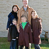 Scott Murphy poses with his family outside the Glens Falls highschool after voting on Tuesday Morning. Photo By Eric Jenks 11/2/10