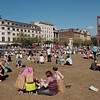 A summer people scape in Piccadilly Gardens