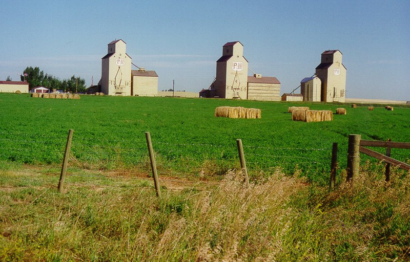 3 7 2014 Grain Elevators, along Prov hwy 547, Mossleigh, Alberta, Aug 4, 1998