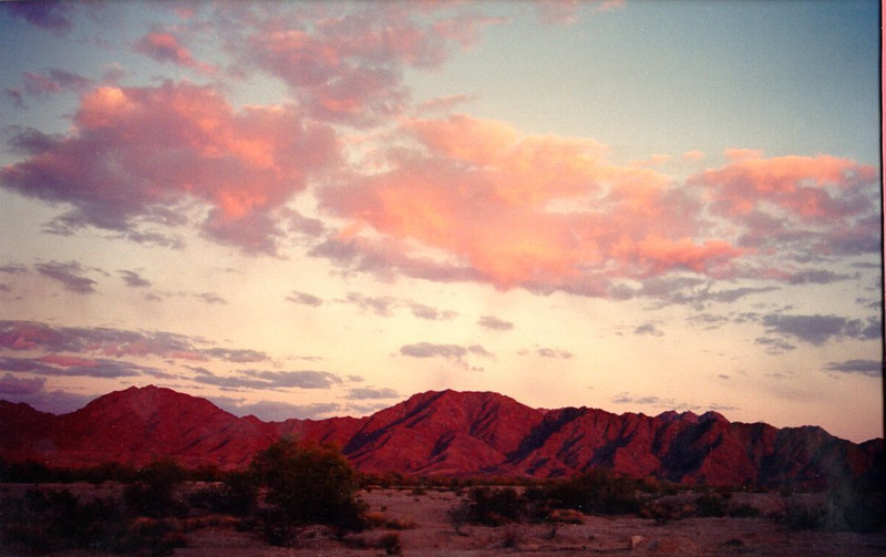 4 29 2014  Sunset, Gila Mts, Foothills, AZ, apr, 1989