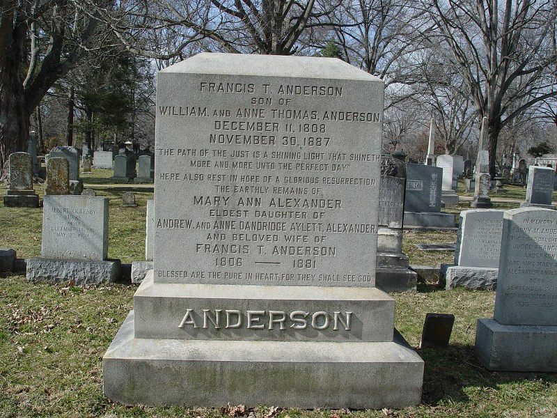 Tumbstone of F  A  and Mary Ann Anderson in Lexington